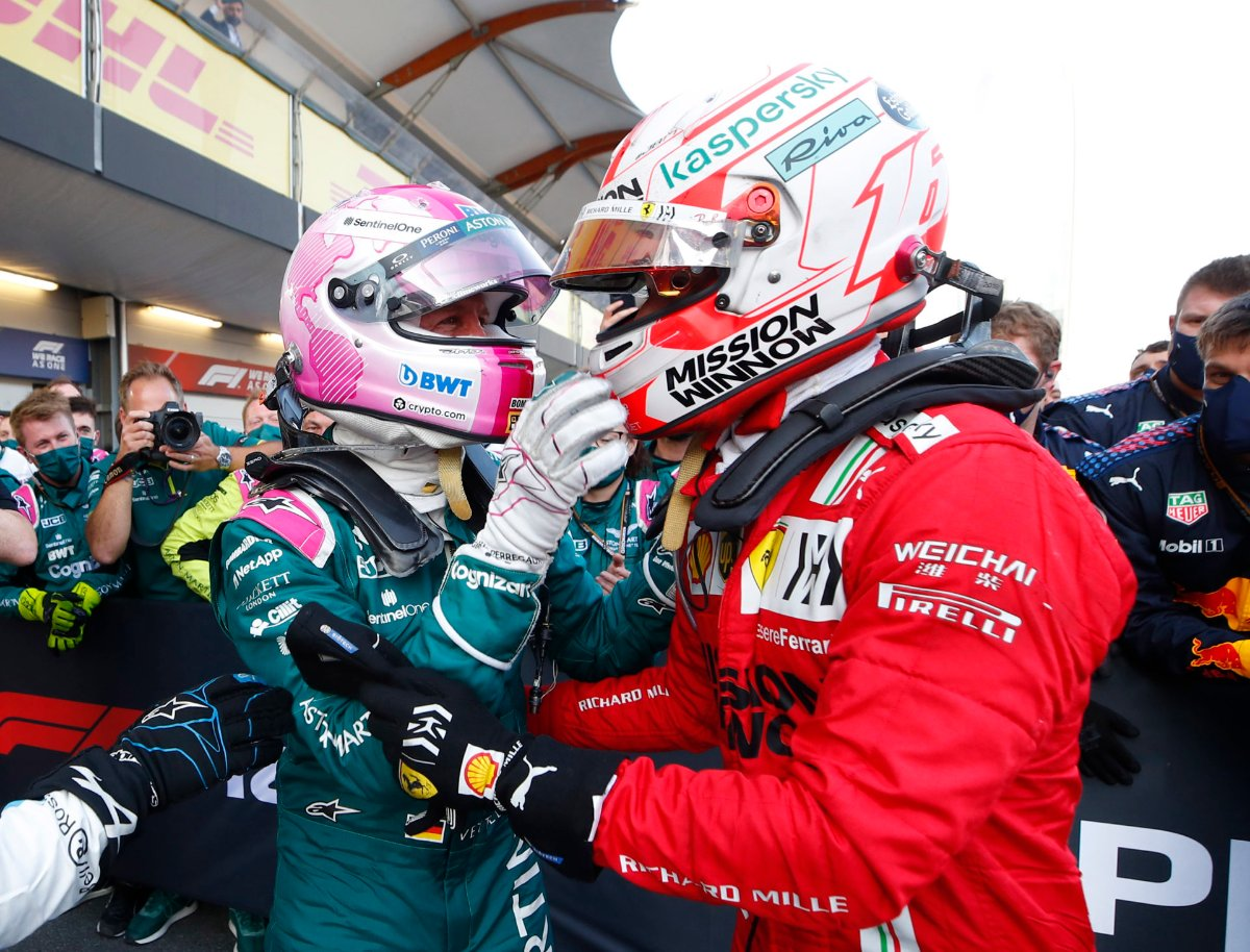 """Happy for Vettel, but Ferrari """"surprised"""" by Aston Martin's pace in Baku: Leclerc"""