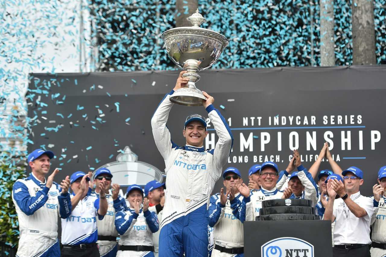 Alex Palou celebrates winning the 2021 NTT IndyCar Series championship