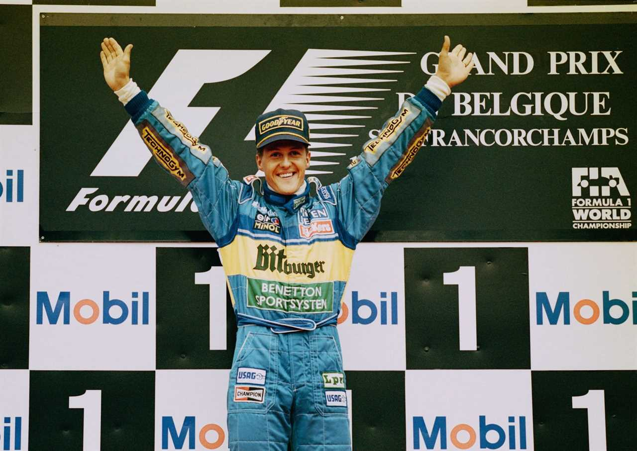 World Champion Michael Schumacher celebrates winning the 1995 Belgian Grand Prix at the Circuit de Spa-Francorchamps in Spa Francorchamps, Belgium. (Photo by Ben Radford/Getty Images)
